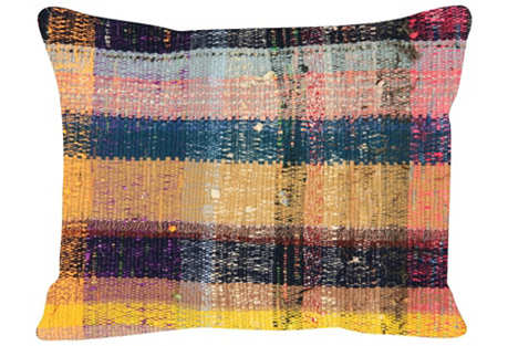 Saffron-Stripe Turkish Rag Rug, Pillow