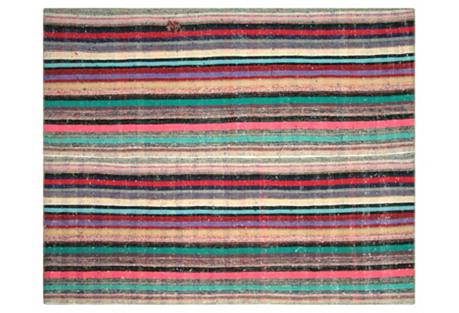 Striped Turkish Rag Rug, 7'5