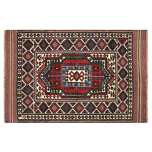 """1980s Afghan Baluch Rug, 4'1"""" x 6'3"""""""