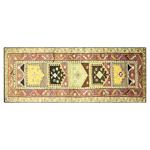 "1960s Turkish Oushak Runner, 4'6"" x 12'"