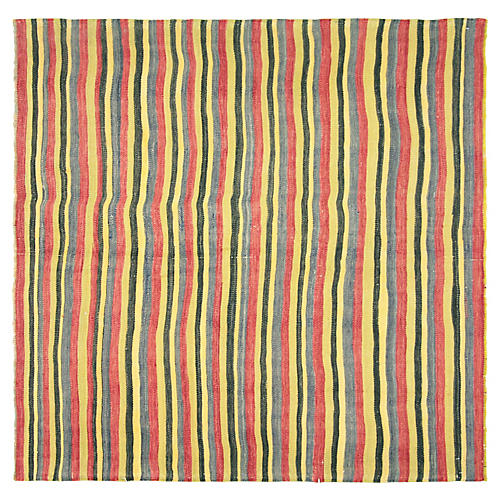 "Striped Anatolian Kilim, 4'7"" x 4'6"""