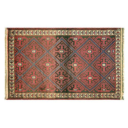 """1970s Afghan Balouch Rug, 3' x4'10"""""""