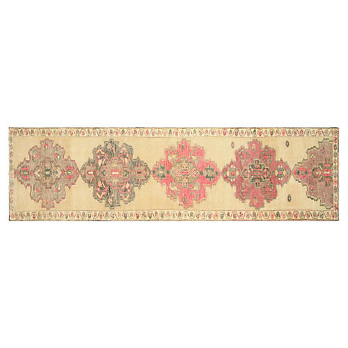 1960s Turkish Oushak Runner, 3' x 11'11""