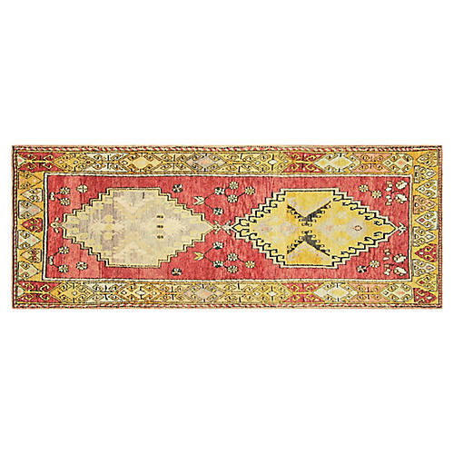 "1960s Turkish Oushak Runner, 3'7"" x10'1"""