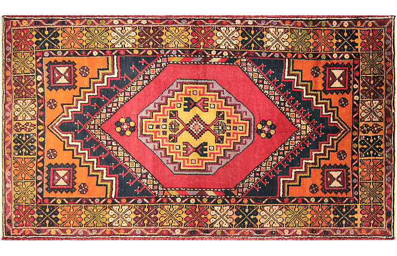 1960s Turkish Oushak Rug, 3'7