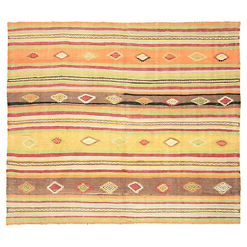 "1930s Turkish Striped Kilim, 5'4"" x 4'7"""