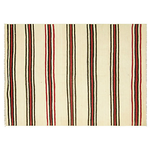 "1950s Turkish Striped Kilim, 4'5"" x 6'3"""