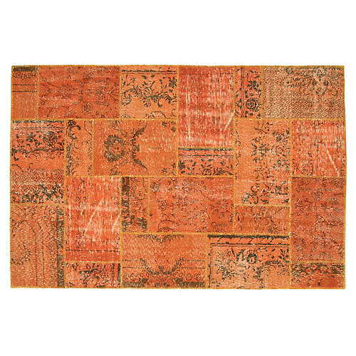 "1950s Overdyed Patchwork Rug, 5'11""x9'1"""