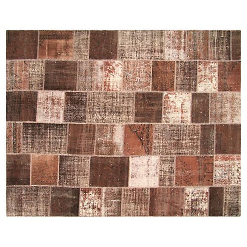1950s Overdyed Patchwork Rug, 9'1 x11'5""