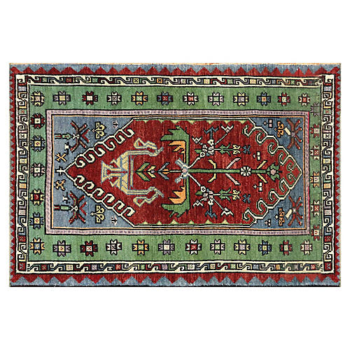 "1960s Turkish Oushak Carpet, 3'2"" x4'7"""