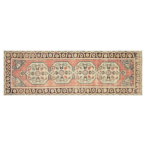 1960s Turkish Oushak Runner, 3' x 10'