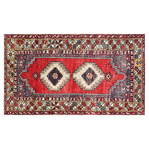 """1960s Turkish Oushak Rug, 3'6"""" x 5'11"""""""