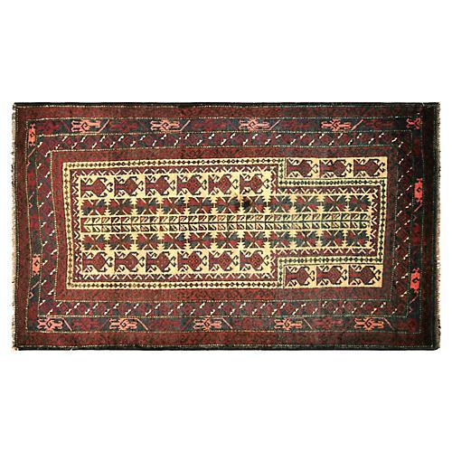 """1970s Afghan Balouch Rug, 3' x 5'1"""""""