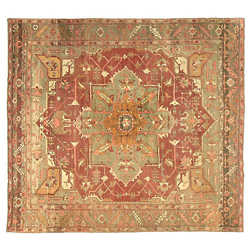 "1930s Turkish Oushak Carpet, 9'9"" x 11'"