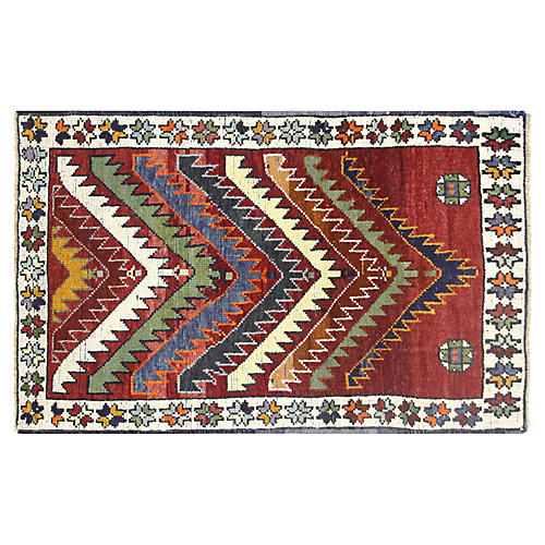 "1960s Turkish Oushak Rug, 2'2"" x 3'4"""