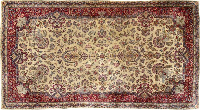 "Antique Persian Kerman, 8'10"" x 16'1"""