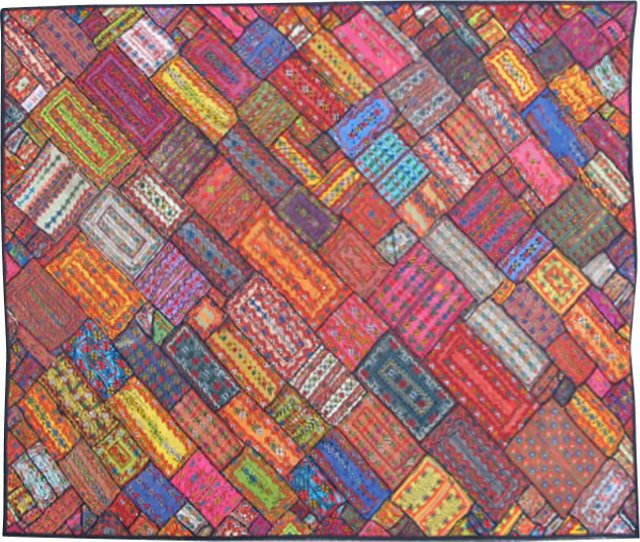 """Embroidered Patchwork Rug, 6'6"""" x 8'3"""""""