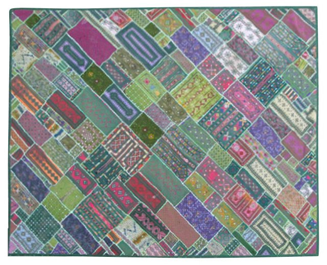 """Embroidery Patchwork Rug, 6'4"""" x 8'1"""""""