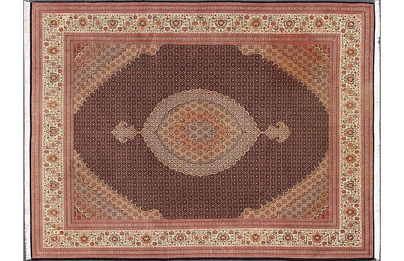 Vintage Persian Tabriz Rug, 9'10 x 13'