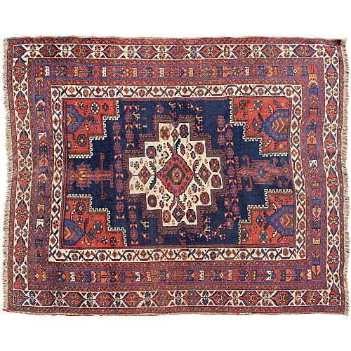 "Antique Persian Afshar Rug, 4'3"" x 5'1"""