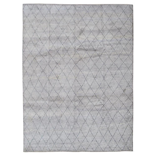 "Light Gray Moroccan Carpet, 9'6"" x 12'2"""