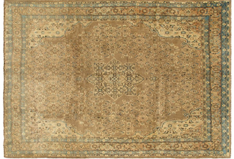 Neutral Tabriz Rug, 7'6