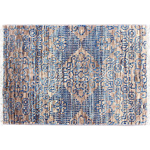 Blue Indian Rug, 2 x 3