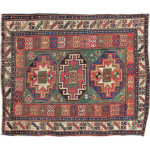 "Antique Kazak Rug, 5'5"" x 7'1"""