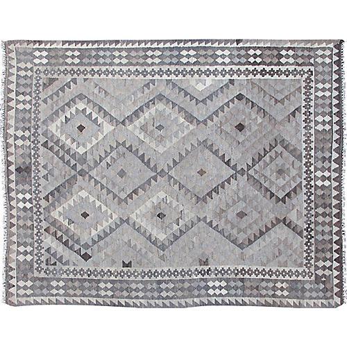 Gray Afghan Kilim, 4'11 x 6'5