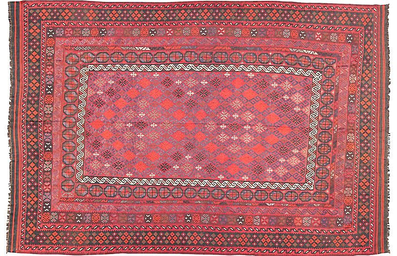 Turkish Kilim Rug, 9'10 x 13'10