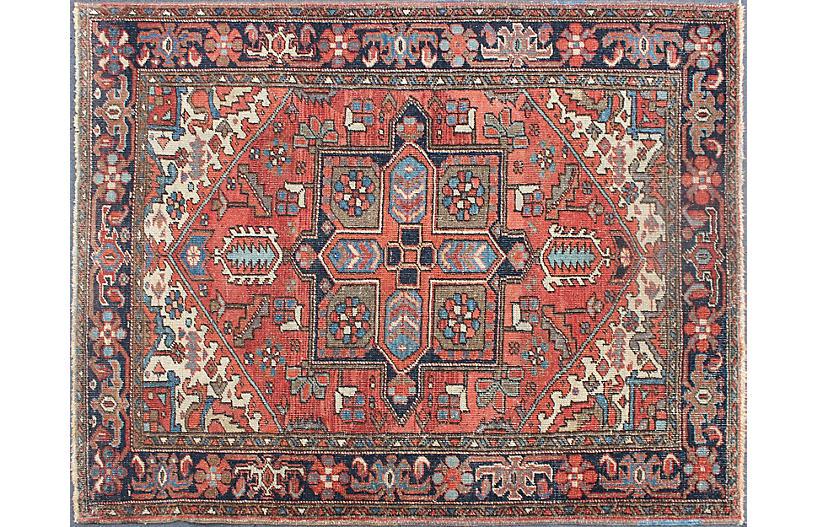 Vintage Persian Heriz Rug, 4'9 x 6'4