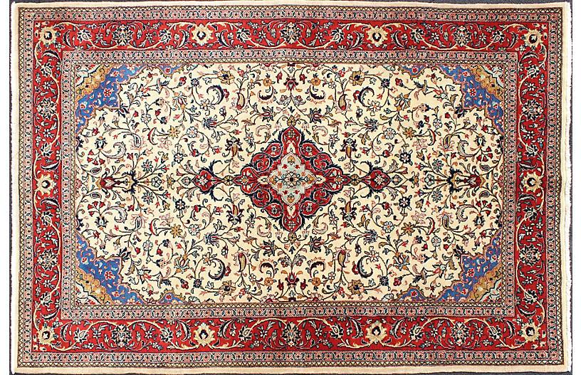 Vintage Persian Tabriz Rug, 4'9 x 7'4