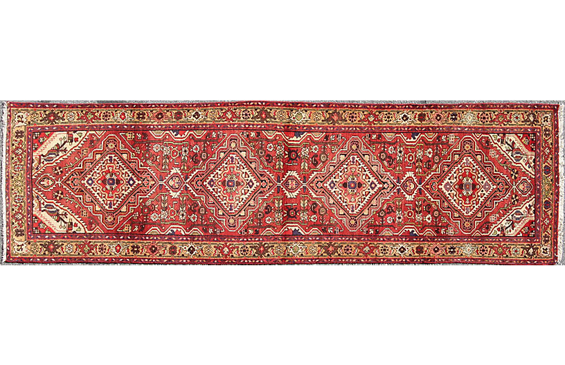 Vintage Red Malayer Runner, 3'4 x 12'
