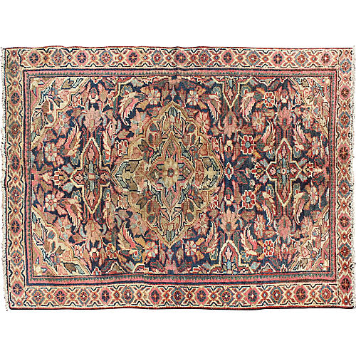 "Antique Persian Mahal Rug, 4'2"" x 6'"