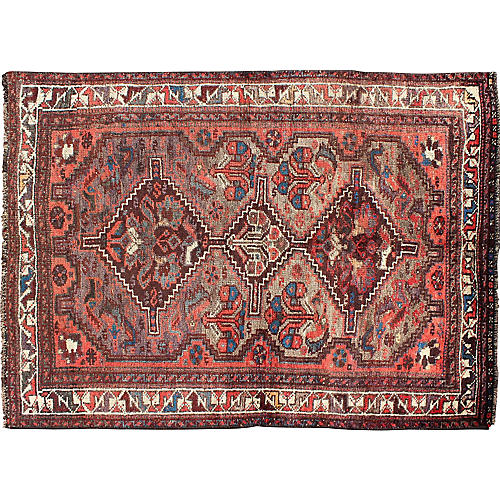 "Persian Shiraz Rug, 3'10"" x 5'7"""