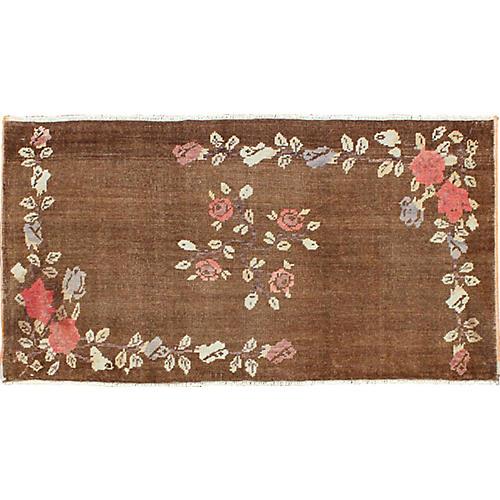 "Brown Floral Oushak Rug, 2'6"" x 5'1"""