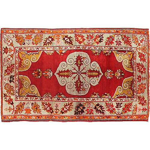 "Antique Turkish Oushak Rug, 4'7"" x 7'10"""