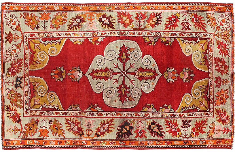 Antique Turkish Oushak Rug, 4'7