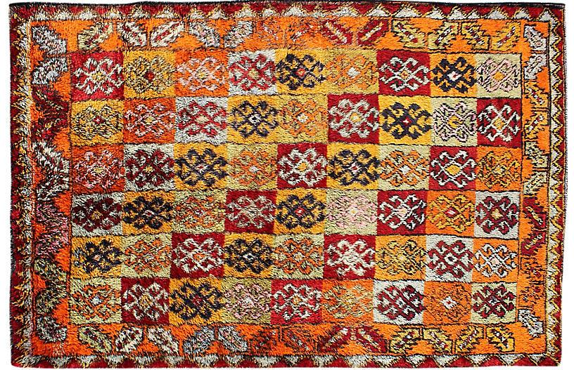 Vintage Turkish Tulu Rug, 4'9 x 7'7