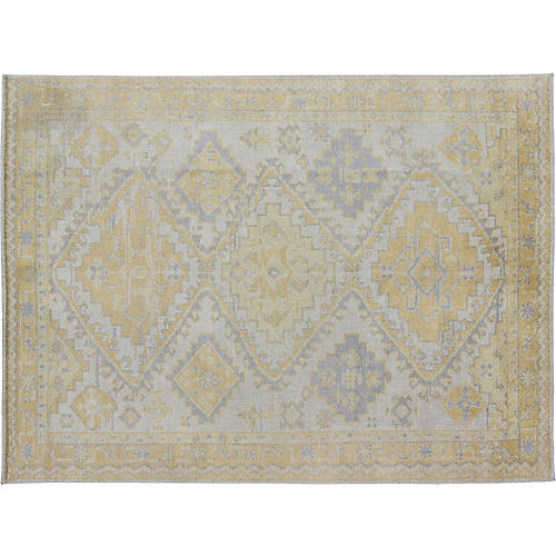 Yellow & Gray Khotan Rug, 8' x 10'