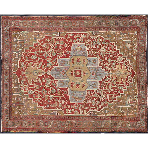 "Antique Persian Bakshaish, 9'4"" x 11'7"""