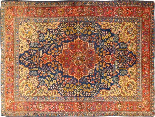 "Antique Tabriz Rug, 4'9"" x 6'3"""