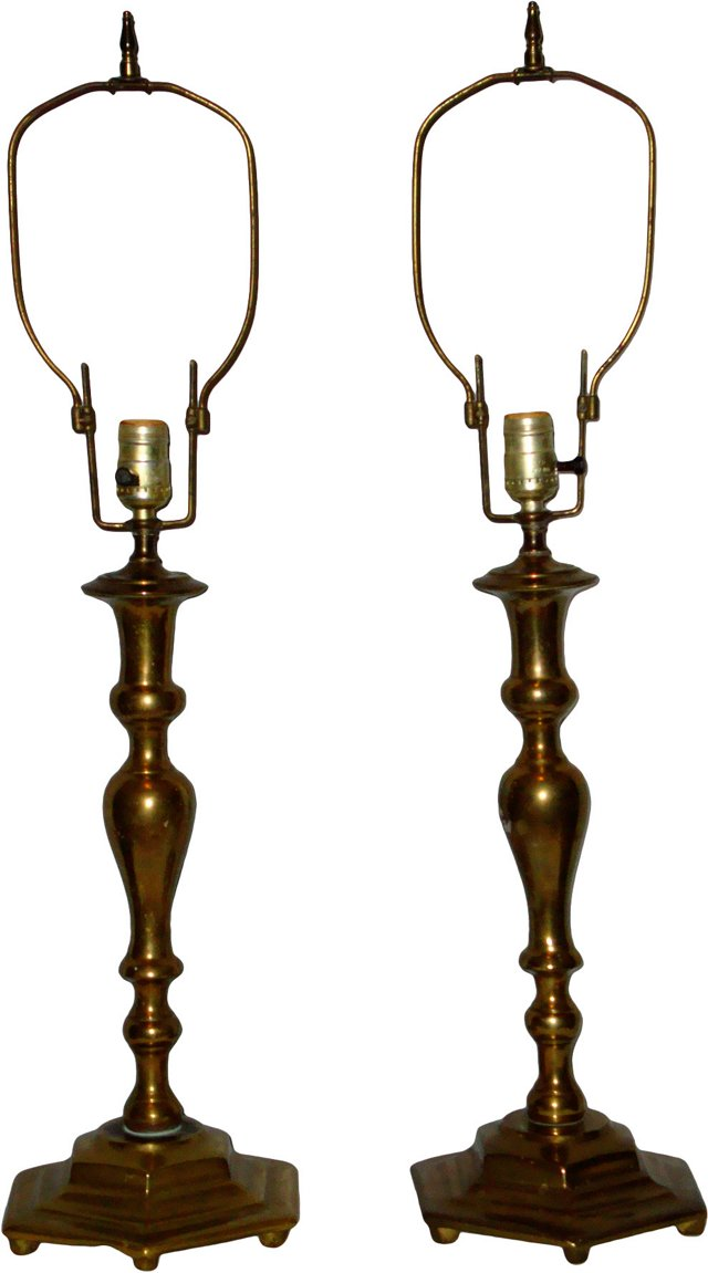 Solid Brass Lamps, Pair