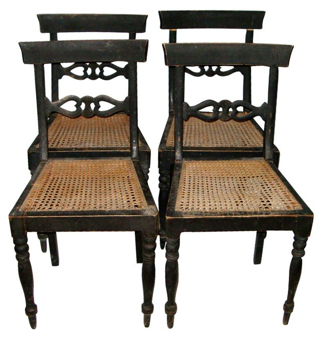 Gustavian-Style Caned Chairs, Set of 4
