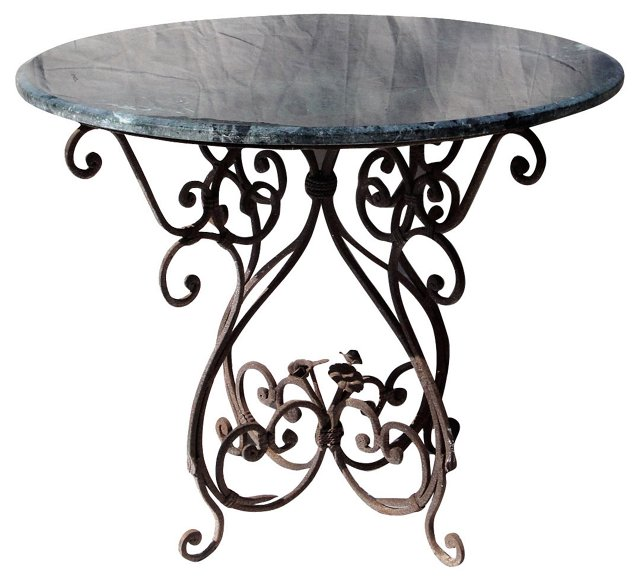 Iron & Green Marble Table