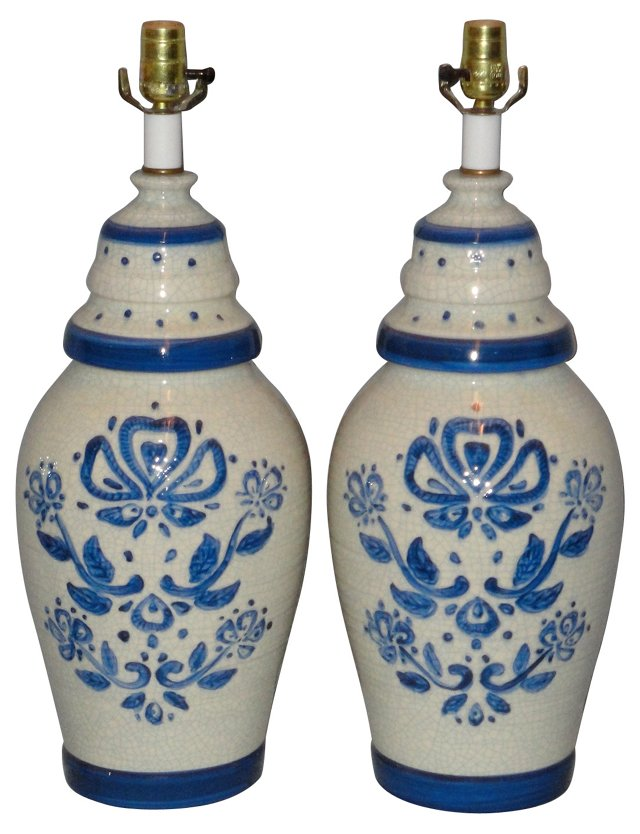 1970s Blue & White Crackle Lamps, Pair