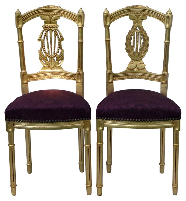 French Purple & Gilt Chairs, Pair