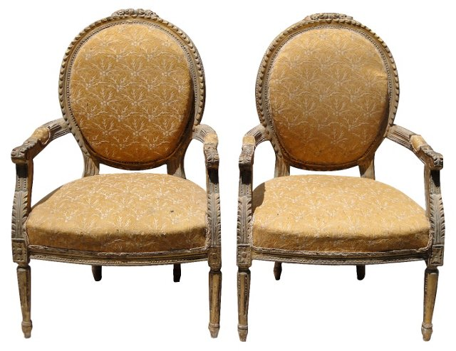 French Giltwood Fauteuils, Pair