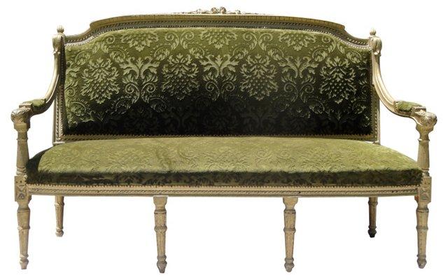 Louis XVI-Style  Velveteen Settee
