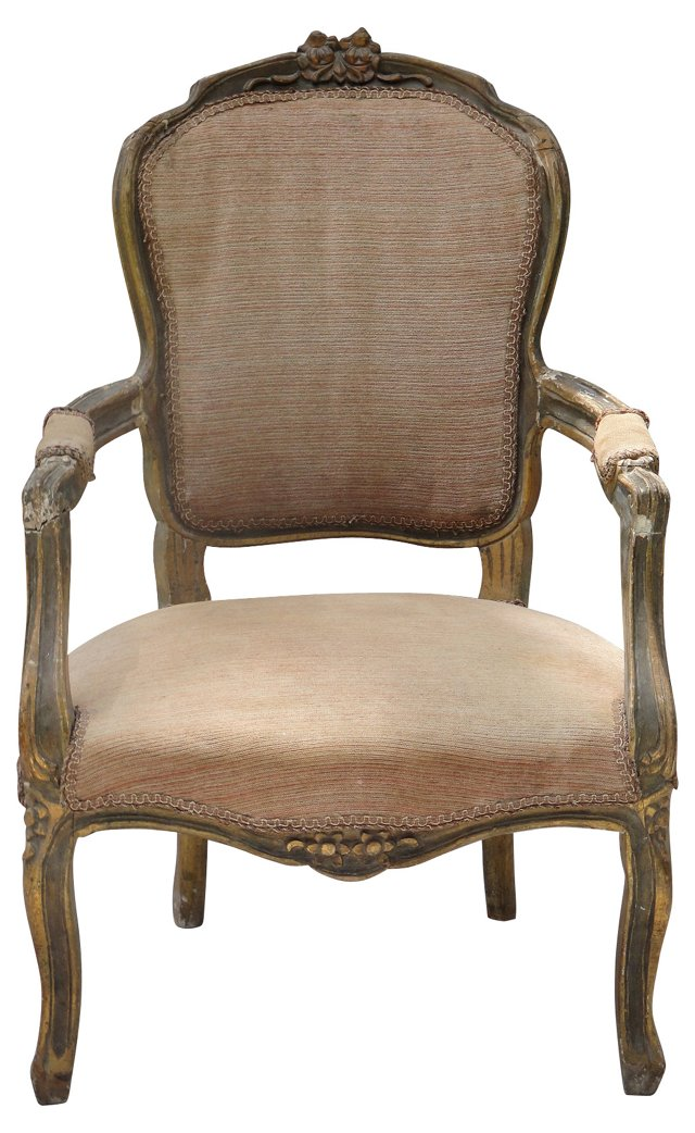 Rococo-Style Giltwood Fauteuil